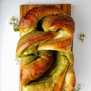 Matcha Brioche Braided Loaf.