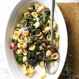 Orecchiette with Ricotta and Chard Pan Sauce.