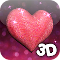 3D Glitter Heart LWP icon