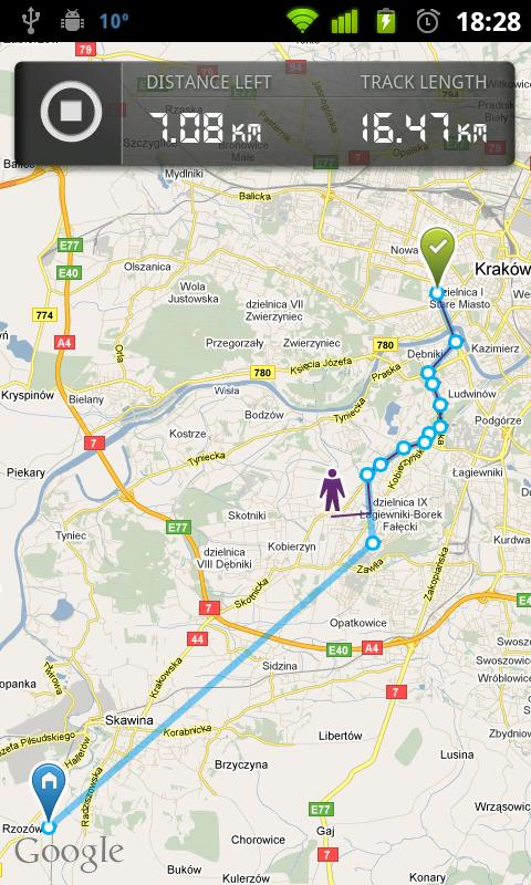 dTracker GPS route tracking - screenshot