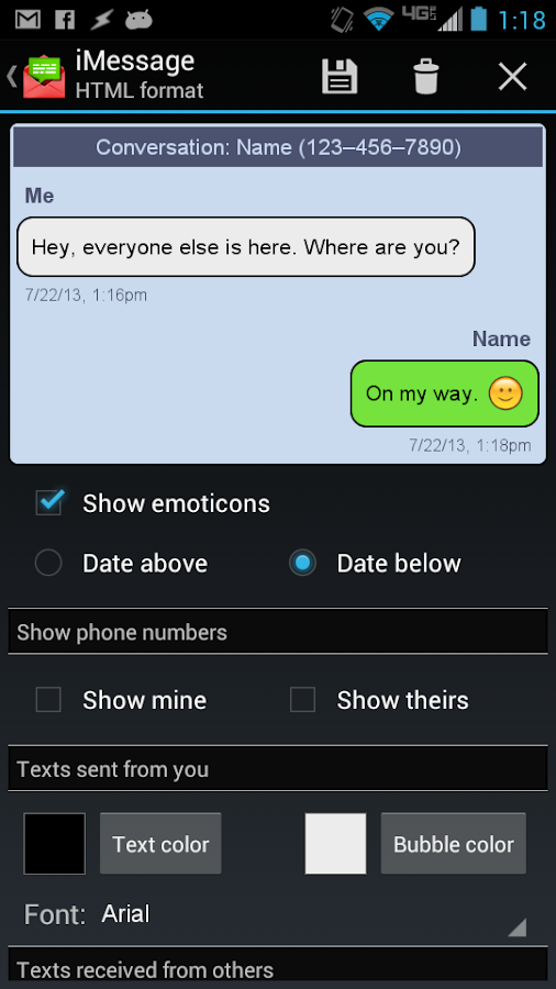 Email Text Messages - screenshot