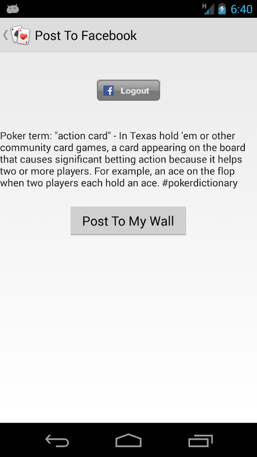 Poker Vocabulary- screenshot