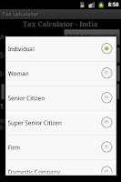 Screenshot of Tax Calculator India