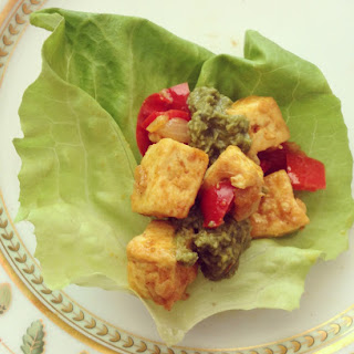 Lettuce Wraps with Curried Tofu and Basil Chutney