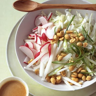 Cabbage and Radish Slaw with Peanut Dressing.