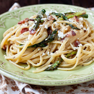 Goat Cheese and Roasted Asparagus Carbonara