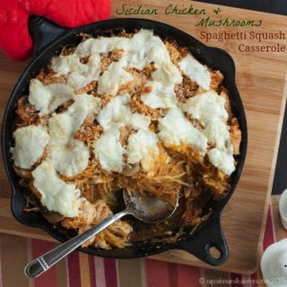 Sicilian Chicken and Mushrooms Spaghetti Squash Casserole