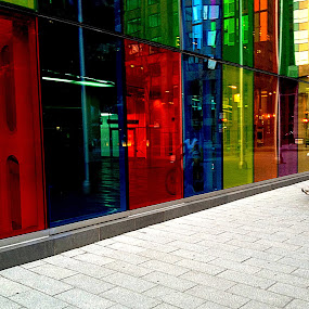 Riding the Color by Christopher Charlton - People Street & Candids ( montreal, building, bike, color, glass, women, bicycle )