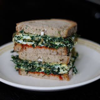 Kale Omelet Sandwich with Harissa and Mayonaise.