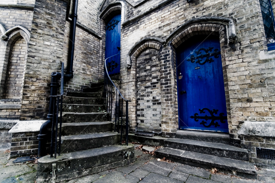 Church Door by Werner Booysen - Buildings & Architecture Places of Worship ( england, church, blue, door, werner booysen, , serenity, mood, factory, charity, autism, light, awareness, lighting, bulbs, LIUB, april 2nd )