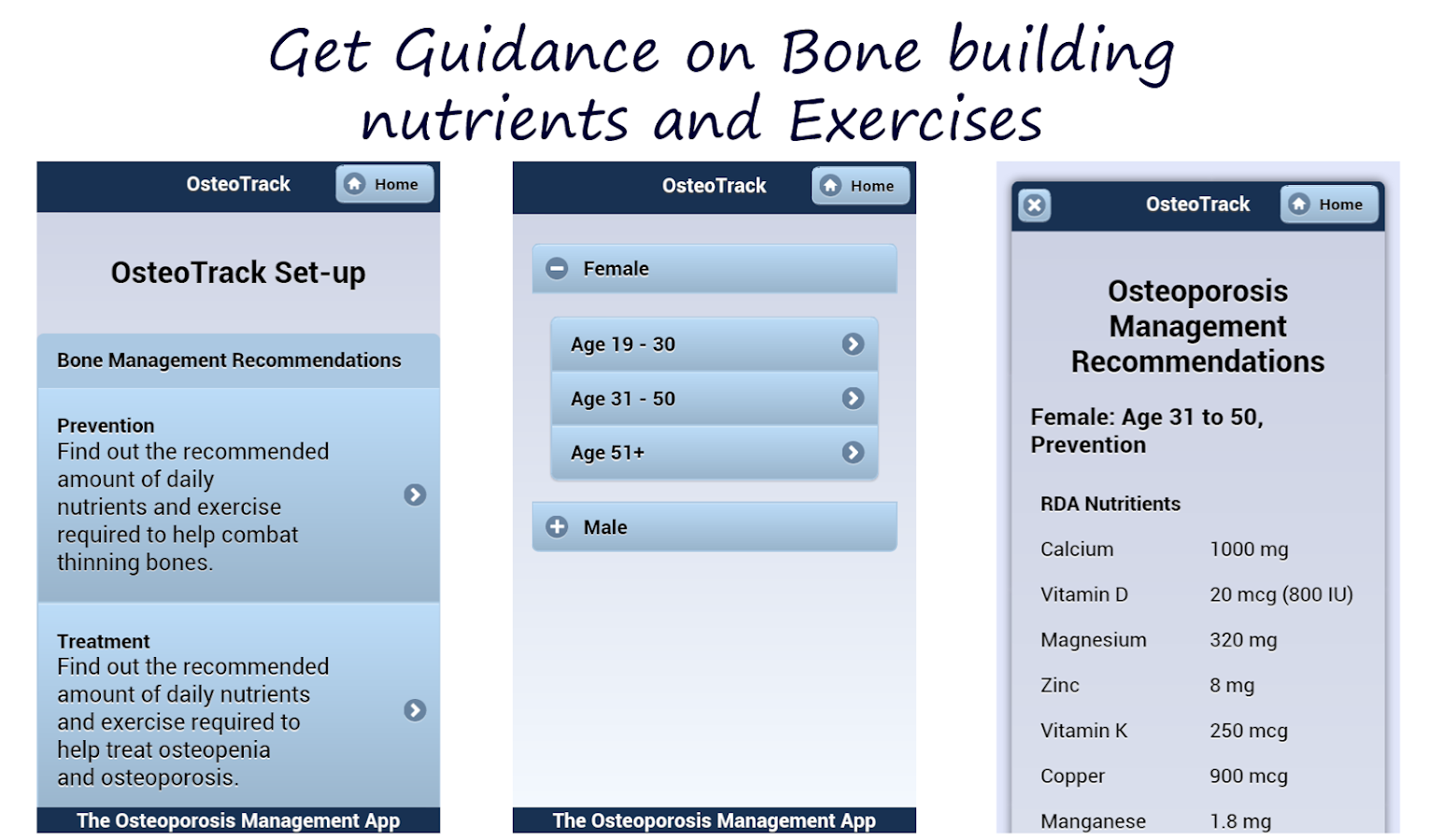 OsteoTrack Manage Osteoporosis- screenshot
