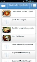 Screenshot of Recipes by Ingredients