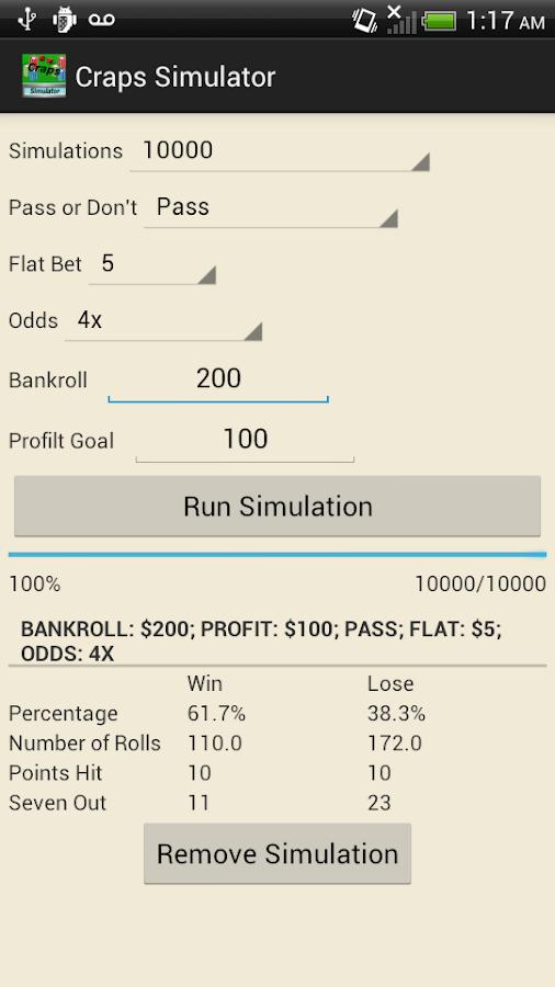 Craps simulator with odds