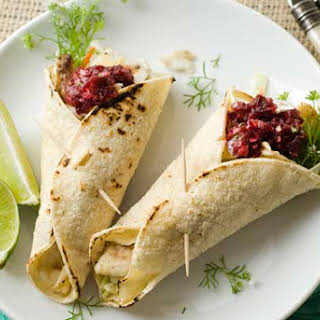 Gluten Free Tilapia Tacos with Cherry Chipotle Salsa.