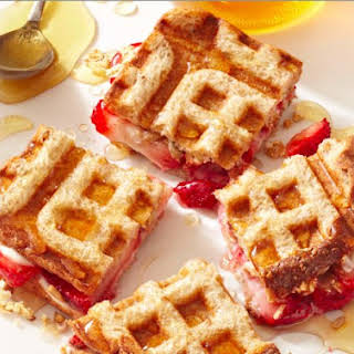 Strawberry And Cream Cheese Waffle Sandwiches.