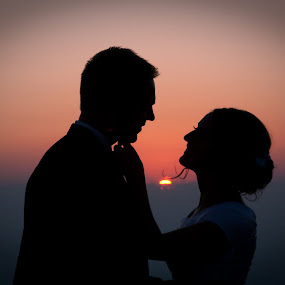 Silhouette at Sunset  by Craig Lybbert - Wedding Bride & Groom ( wedding, silhouette, sunset, bride, groom, sun )