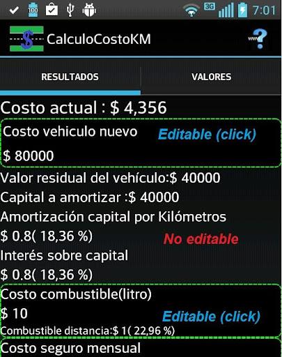 Auto: cálculo de costo por km