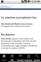 Screenshot of Ratgeber Presserat