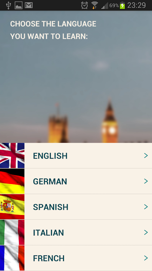 Courses123 - language learning - screenshot