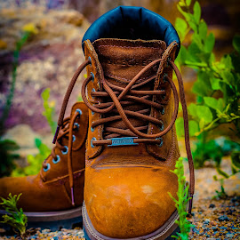 SKECHERS Boots by Vithanala shiva Kumar - Artistic Objects Clothing & Accessories ( blue, green, plants, brown, leaves, rocks, boots,  )