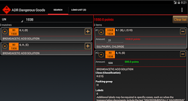 Screenshot of ADR Dangerous Goods