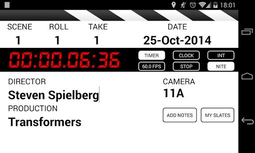 Clapperboard PRO Shot log