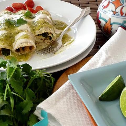 Chicken, Black Bean, and Spinach Enchiladas