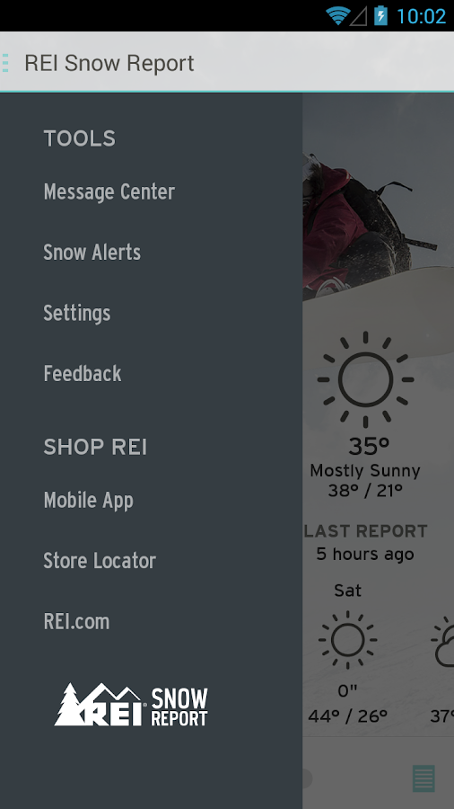 REI Snow Report- screenshot