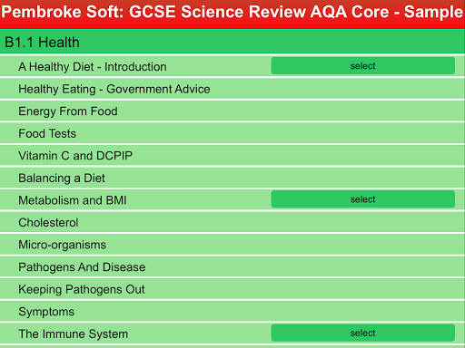 Sample AQA Core Science Review