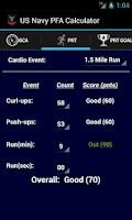 Screenshot of Navy PFA Calc