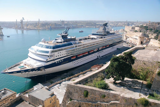 Celebrity_Century_Valletta - Celebrity Century docked at the port of Malta's capital, Valletta, while guests enjoy the magical city.