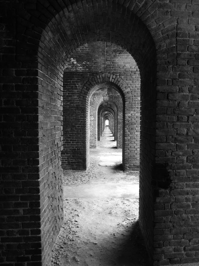 Arches of fort by Jay Anderson - Black & White Buildings & Architecture ( vacation, dry tortuga, arch, brick, arches, jefferson, sea, fort, island,  )