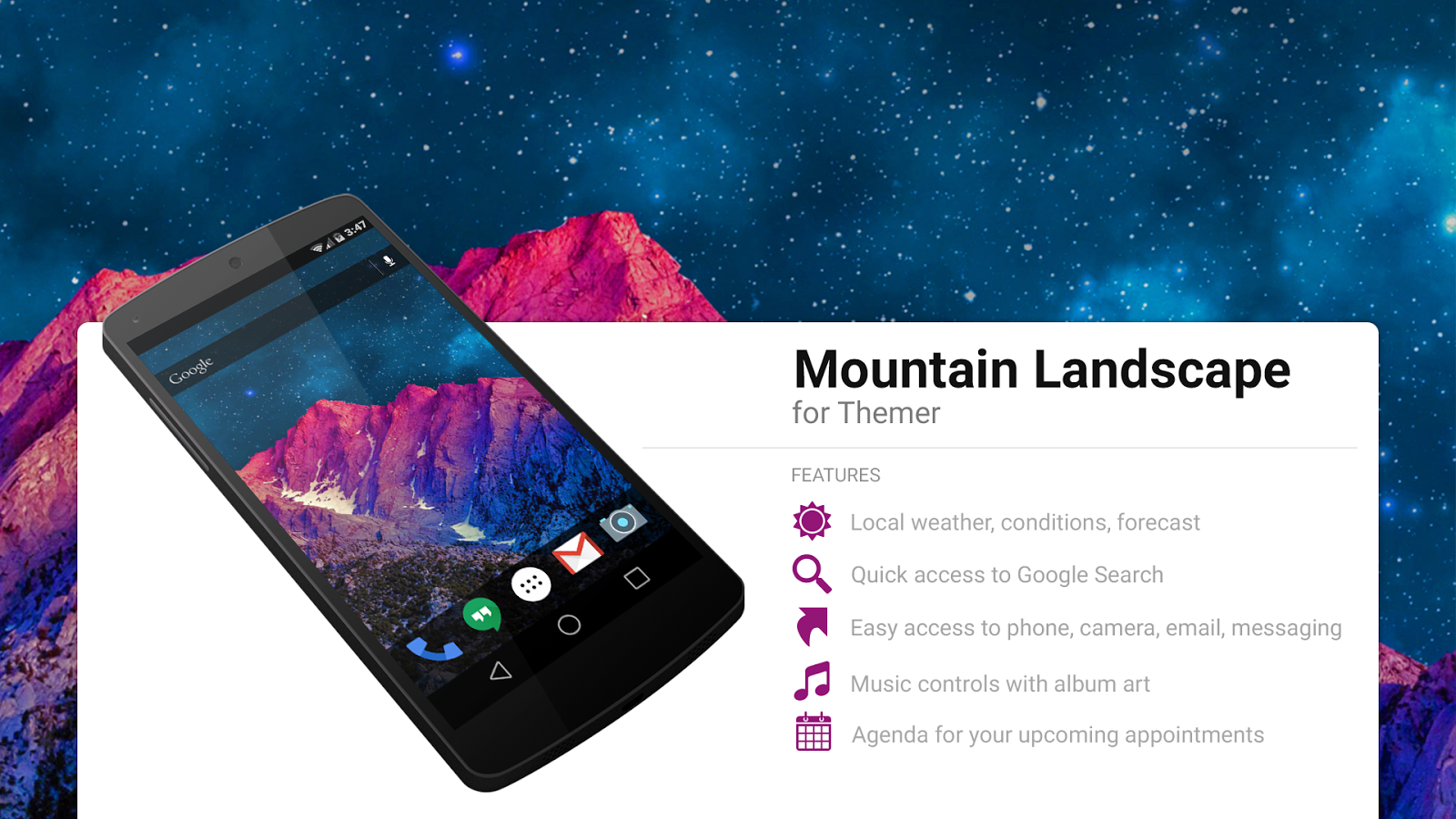 Gmail mountain theme pictures - Mountain Landscape Theme Screenshot