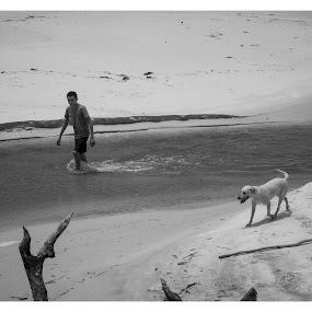 Menino com cão by Mauro César Louzada - Landscapes Beaches