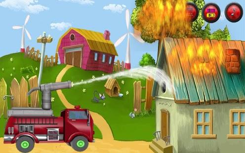 消防車:堵车时刻-拯救農場-孩子們的遊戲車。