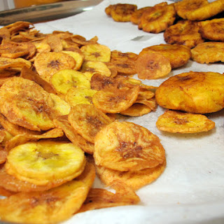Patacones and Chifles (plantains cut fat and thin).