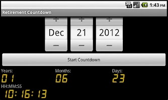 Screenshot of Retirement Countdown