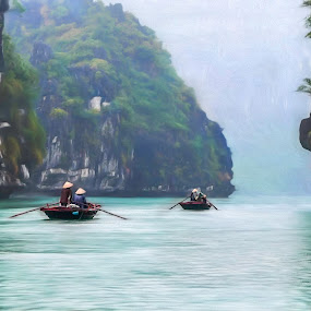 Following by Barb Hauxwell - Digital Art People ( paddle boats, water, ridges, traveling, blue, bay, boats, vietnamese, vietnam, halong, traditional paddy rice hats )
