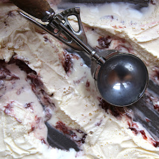 Sour Cream Ice Cream with Strawberries and Brown Sugar