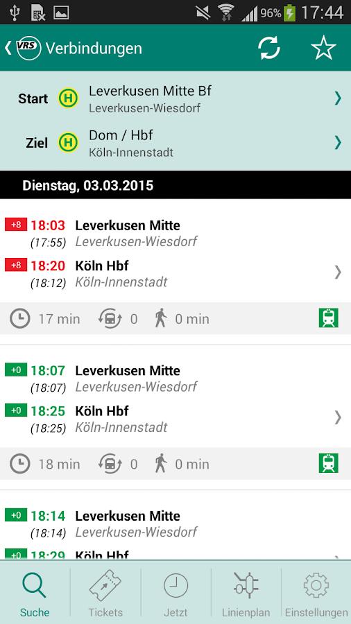 VRS Auskunft - screenshot