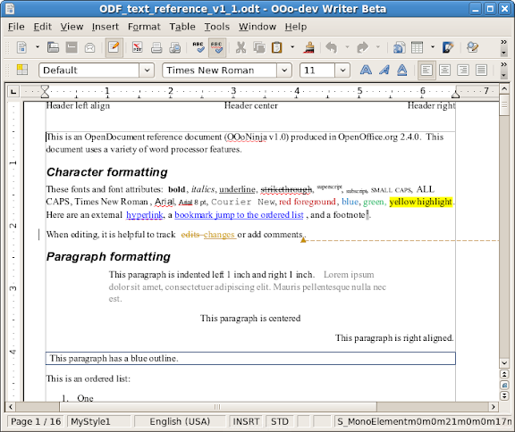 Screenshot of OpenOffice.org Writer of original document used in this test