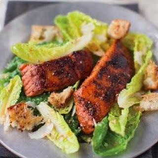 Caesar Salad With Blackened Salmon.