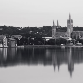 Cathedral reflections  by Tony Simcock Eadie - Black & White Buildings & Architecture ( black and white, long exposure, cathedral, cityscape, truro, cornwall,  )