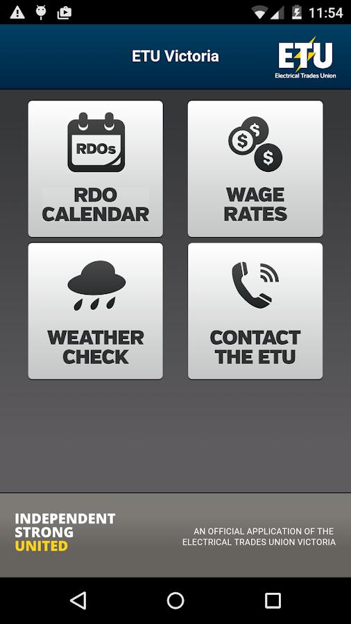 ETU Victoria RDOs & Wages - screenshot