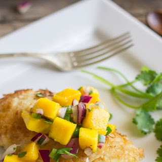 Coconut Crusted Chicken With Mango Salsa.