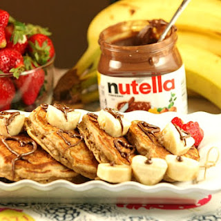 Banana Bread Pancakes with Nutella.