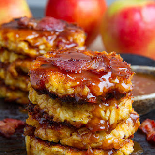 Apple, Cheddar and Bacon Fritters in Caramel Sauce.
