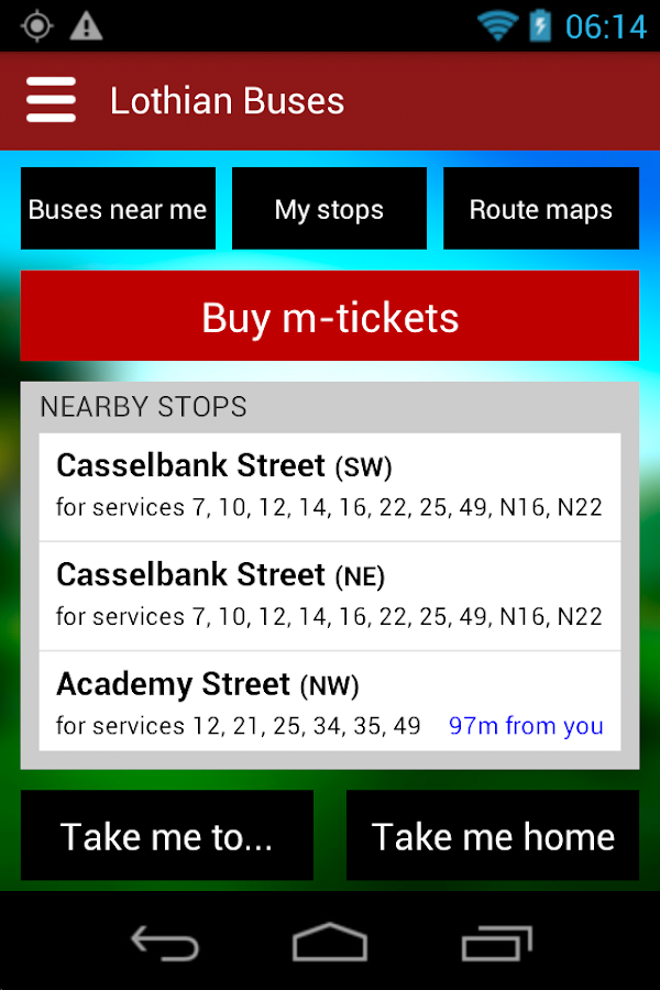 Lothian Buses - official app - screenshot
