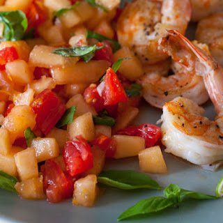 Grilled Shrimp with Cantaloupe-Lime Salsa