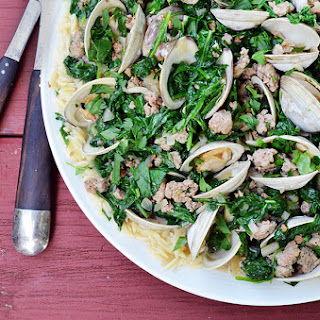 Ragout of Clams with Spinach, Sausage and Orzo.